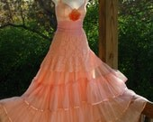 Romantic Delicate Peach Slip Vintage Makeover Long Ruffle Lace Rose Dress By Veronikaswan An Etsy