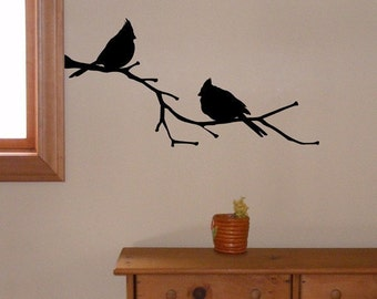 Cardinal Birds on a Branch, vinyl wall decal, Cardinal Decor, State Bird Silhouette