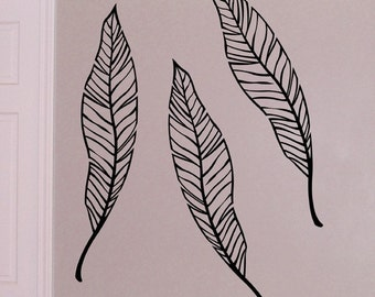 Palm Branch vinyl decals, large tropical leaves decals, Palm tree leaves for beach tropical nautical decor. Baby nursery decal.
