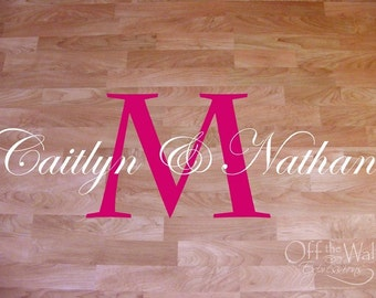 Dance Floor Decal, Wedding Monogram, reception decor, wedding couple name decal, vinyl wall art, wedding decor