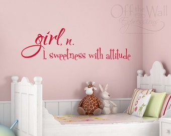 Girl sweetness with attitude - vinyl wall decal - Girl Definition