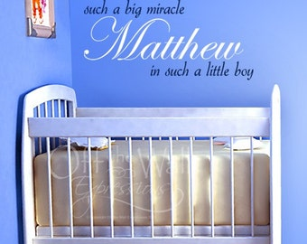 Miracle Boy personalized vinyl decal, such a big miracle, nursery decor for boy