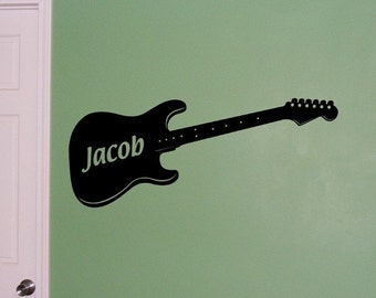Personalized Guitar vinyl decal