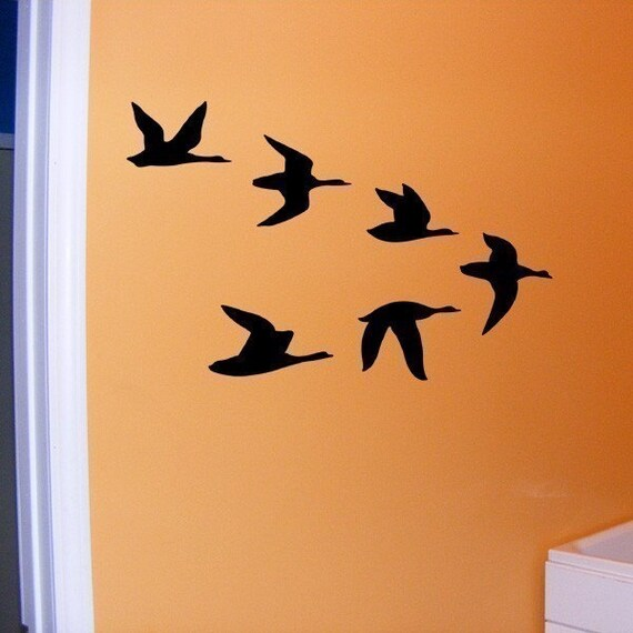 Birds in flight vinyl decal wall art sticker graphic for Bird wall art