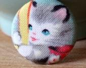 Retro Kitty Pin - Button by Vegancraftastic