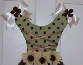 Sale,Little Girls Room,Hair Bow Holder,Bow Holder,Large Bow Holder,One of A Kind Bow older Brown and Green Ballerina   Hairbow  Reay To Ship