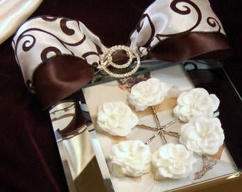 Wedding Sales,Pearl Off White Roses Bobby Pin Set,Bridal Accessories,Flower Girl,Bobby Pin