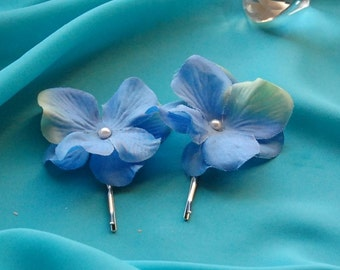 Wedding Hair Pins,Bridal Hair Pins,Set of 2 Hydrangea Bobby pins