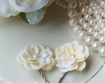Classic Shades of Ivory Rose Bobby Pin Set,Wedding Hair Flower,Ivory Hair Flower,Bridal,Flower Gil,Bridesmaid