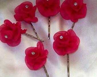 Fushia Organza Flower Bobby Pin Set of Six,Wedding Hair Flower,Bridal Hair Flower,Bridesmaid Hair Flower,Fushia Hair  Flower,Fushia wedding