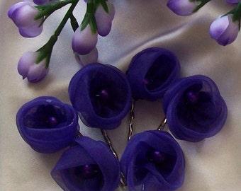 Purple Organza Rose Buds Bobby Pin Set of Six