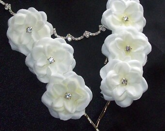 Wedding Sale,Diamond Wedding Hair Flower,French White Hair Flowers,Hair Flower,Wedding,Bridal Accessories,Wedding Hair Flower