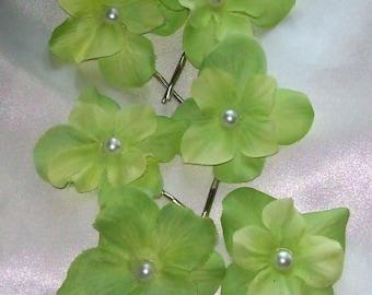 Hydrangea Wedding Hair Flower,Hair Flower,Lime Green Wedding,Wedding