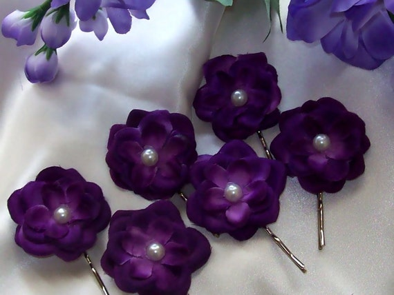 Super Sale, Purple Wedding Hair Flower Set Bridesmaid Up do Bride,Flower Girl,Bride<Bridal Accessories,Wedding Accessories