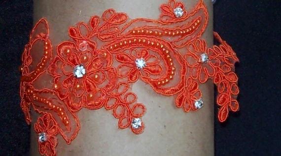 Wedding Garter,Orange Lace Garter,Lace Garter Set,Bridal Garter, Free Toss Garter,Plus Size Garter,Plus Size Bride,Bridal Accessories
