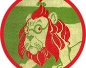 vintage cowardly lion (2.25-in magnet pinback button badge keychain bottle opener pocket mirror)