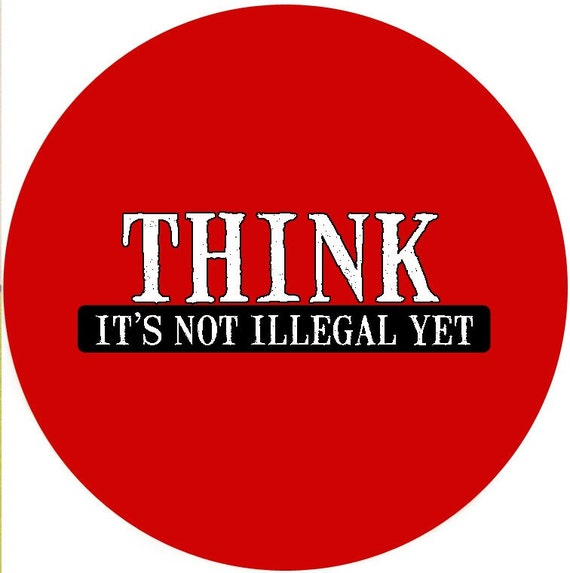 THINK - red (2.25-in magnet pinback button key chain bottle opener pocket mirror)