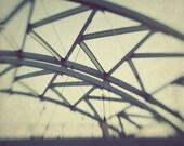 Architecture Photography - black white blue bridge masculine cream tan landscape Triangles - 5x7