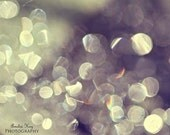 Abstract Photograph Print - Tiny Pearls Of Light - fall amethyst pulm purple silver white whimsical pastel light autumn harvest circles