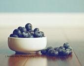 Blueberry Food Photograph - Blueberry Harvest - 8x10 blueberries fresh navy dark midnight blue white bowl brown teal pale Kitchen Decor