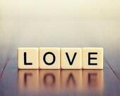 Love Still Life Photography, word typography photo, blue decor, pastel purple lilac, white cream, black, tile photo