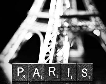 Paris - Fine Art Black and White Photography - still life scrabble tiles silver grey europe travel whimsical France French
