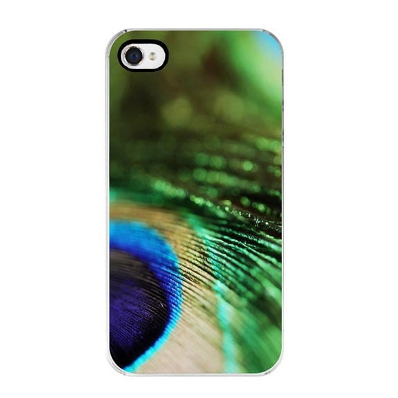 CLEARANCE iPhone 4s Case - Abstract Feather Photograph iPhone 4 case peacock feather emerald green blue teal