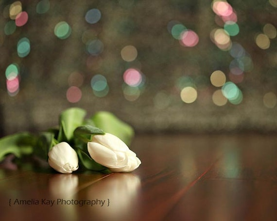 White Tulip Photography - Three White Tulips - Spring, rustic, dreamy, abstract flower glitter bokeh light red green black brown