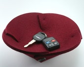 Small Felt Fabric Bowl Thick Wool Catchall Office Cubicle Decor Organizer Deep Red Bordeaux Marsala Valet Tray Catch All Desk Accessories