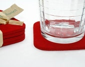 Thick Felt Fabric Beverage Coasters Set of 4 or 6 Red