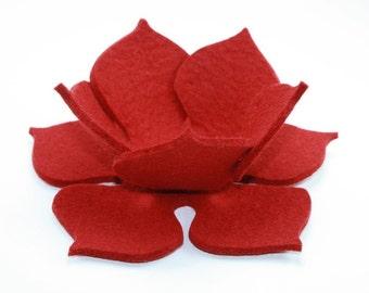 Lily Pad Felt Bowl in 3mm Virgin Merino Wool Felt-Cherry