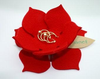 Lily Pad Lotus Flower Bowl in 3mm Virgin Merino Wool Felt Fabric  Felted Ring Catcher