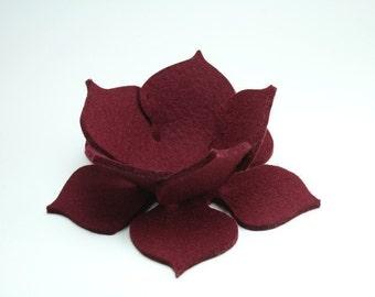 Bordeaux Lily Pad Lotus Flower Bowl in 3mm Virgin Merino Wool Felt Fabric Bordeaux Felted Ring Catcher Garnet Maroon Marsala Deep Red