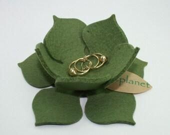 Lily Pad Felt Ring Catcher Dish Lilpad Lotus Bowl 3mm Virgin Merino Wool Felt-Olive