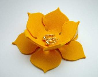 Lily Pad Felt Bowl in 3mm Virgin Merino Wool Felt-Yellow