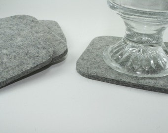 Square Felt Absorbent Coasters in 5mm Thick Virgin Merino Wool Felt-Set of 4 Cup Coaster Set