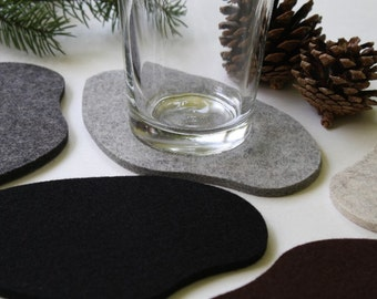 Cool Drink Coasters Secret Pond Organic Shape Rustic Home Decor Log Cabin Lake House Gift Decoration Wool Felt Unique Coaster Set