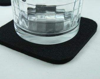 Black Wine Coasters in 5MM Thick Virgin Merino Wool Felt Coaster Set