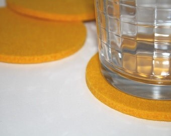 Round Drink Coasters in Yellow 5MM Thick Virgin Merino Wool Felt Fabric EcoFriendly Housewarming Hostess Gifts Felted Barware