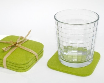 Square Cloth Kitchen Coasters for Drinks, Lime Green Felt Coaster Set 5MM Thick Merino Wool Felt Beverage Coaster Set Hostess Gift