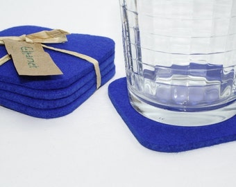 Square Wool Felt Cup Desk Coaster Set Blue Coasters for Drinks Fabric Bar Coasters, Royal Blue House Warming Gift for Hostess