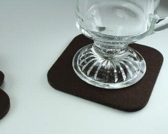 Felt Coasters in 5MM Thick Virgin Merino Wool Felt-Dark Brown