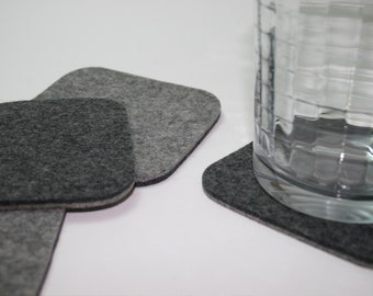Square Wool Felt Coasters for Drinks in 5mm Thick Merino Wool Felt
