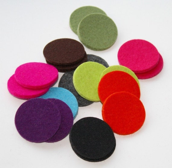 "3mm Thick Wool Felt Circles Die Cut Round Felted Dots in 1/2"", 3/4"" and 1"" diameter mix, any color diecut"