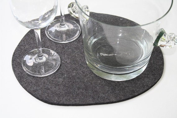 NATURALS Wool Felt Fabric Trivet in 5mm thick Anthracite- Boulder Lake Eco Friendly Sustainable Felted Pot Holder