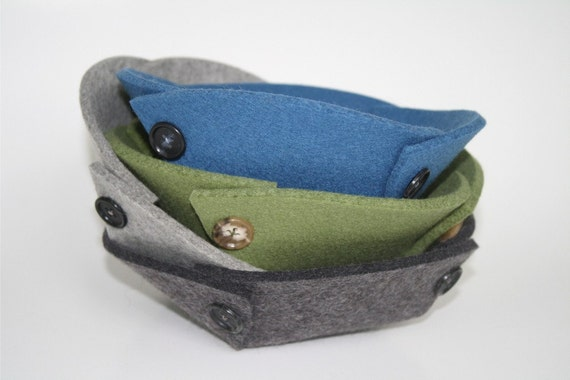 Small Felt Bowl 5mm Merino Felted Wool Travel Valet Tray Collapsible Catchall Eco-friendly Catch All Desk Organizer Dish Storage Basket