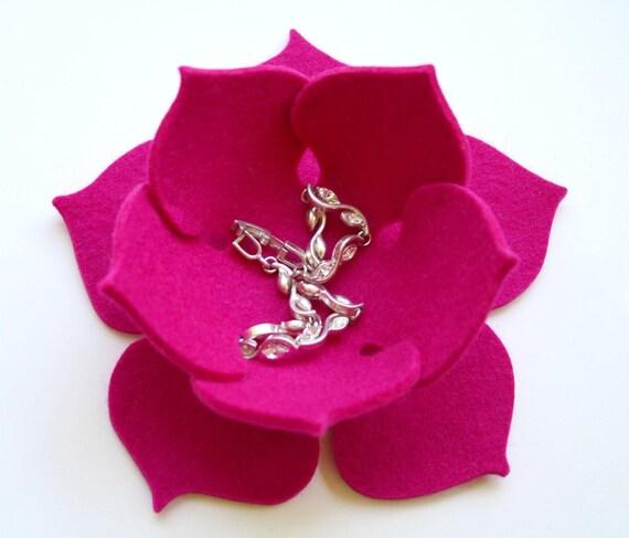 Magenta Lily Pad Lotus Bowl in 3mm Virgin Merino Wool Felt Felted Ring Catcher