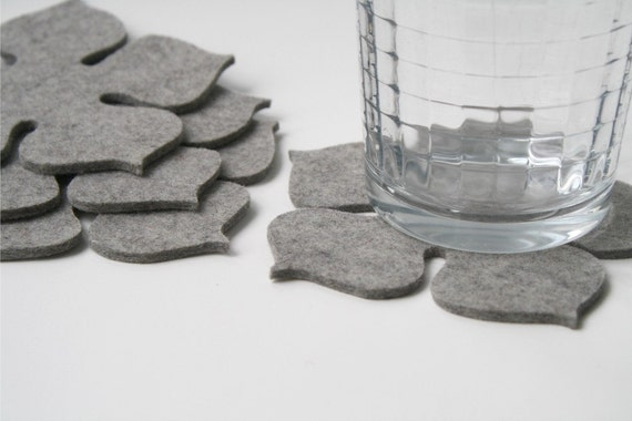Coaster Set, Flower Power Felt Drink Coasters 3MM Thick Virgin Merino Felted Wool Grey Gray Granite Eco Friendly Housewarming Hostess Gifts