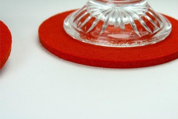 Round Circle Felt Drink Coasters in 5MM Thick Virgin Merino Wool Felt Fabric Eco Friendly Housewarming Hostess Gifts Felted Barware