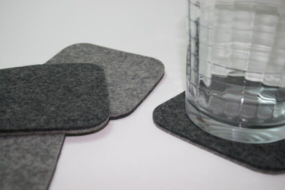 Square Felt Drink Coasters for Men Bar Cart Decor Accessories 5mm Thick Wool Fabric Eco friendly Barware Housewarming Hostess Gift Grey